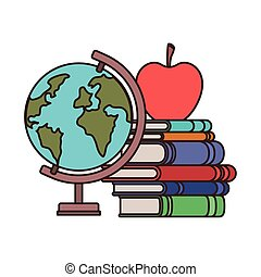 globe with books and apple fruit on white background