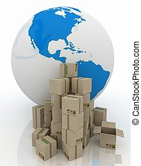 Globe with carton boxes on a white background