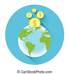 Globe With Coins Icon Business Investment Concept