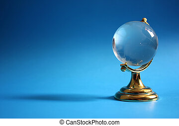 Retro globe, with copy-space isolated on color background