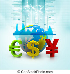 Globe with currency symbols - Globe with currency symbols in...