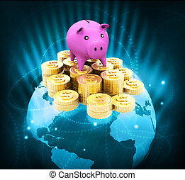 Globe with dollar coins and piggy Global money saving