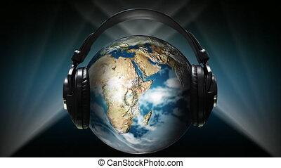 Globe with earphones on it