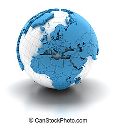 Globe with extruded continents, Europe and Africa regions