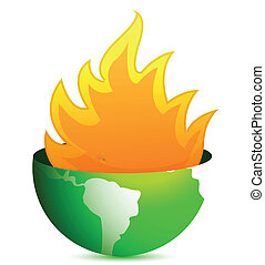 globe with fire flames
