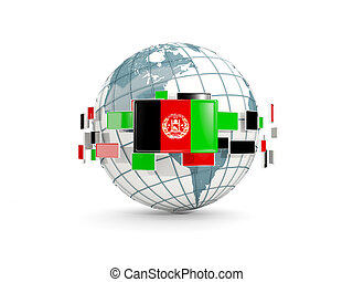 Globe with flag of afghanistan isolated on white