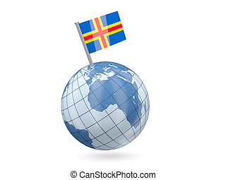 Globe with flag of aland islands