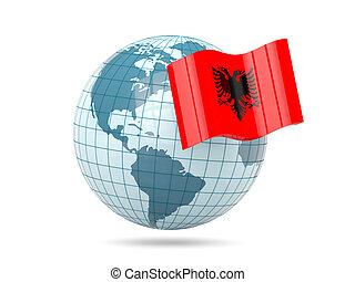 Globe with flag of albania