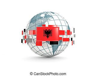 Globe with flag of albania isolated on white