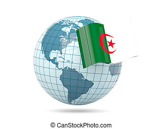 Globe with flag of algeria