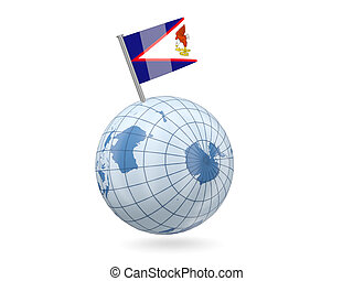 Globe with flag of american samoa