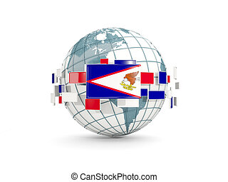 Globe with flag of american samoa isolated on white