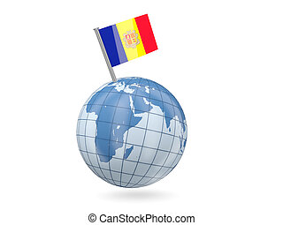 Globe with flag of andorra
