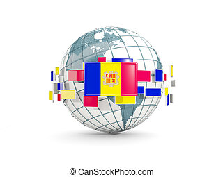 Globe with flag of andorra isolated on white