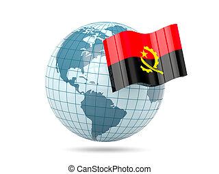 Globe with flag of angola