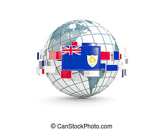 Globe with flag of anguilla isolated on white