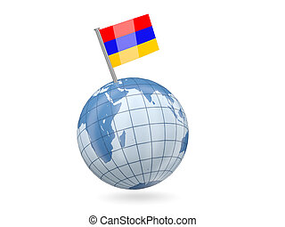 Globe with flag of armenia