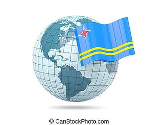 Globe with flag of aruba