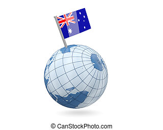 Globe with flag of australia