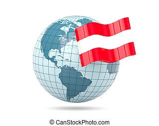Globe with flag of austria