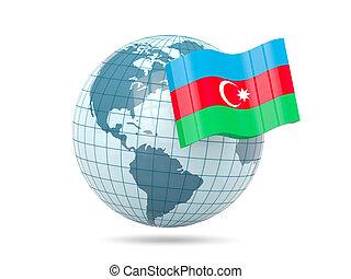 Globe with flag of azerbaijan