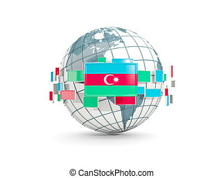Globe with flag of azerbaijan isolated on white