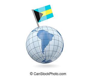 Globe with flag of bahamas