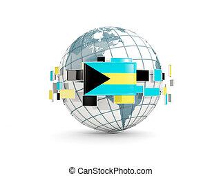 Globe with flag of bahamas isolated on white