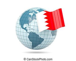 Globe with flag of bahrain
