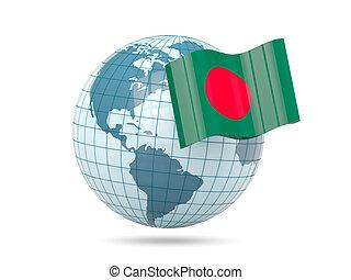Globe with flag of bangladesh