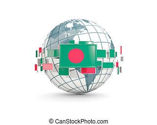 Globe with flag of bangladesh isolated on white