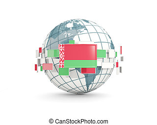 Globe with flag of belarus isolated on white
