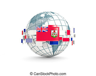 Globe with flag of bermuda isolated on white