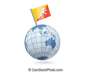 Globe with flag of bhutan