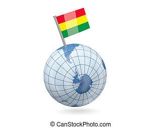 Globe with flag of bolivia