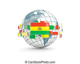 Globe with flag of bolivia isolated on white