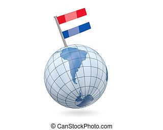 Blue globe with flag of bonaire isolated on white