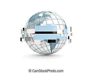 Globe with flag of botswana isolated on white