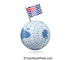 Globe with flag of british indian ocean territory