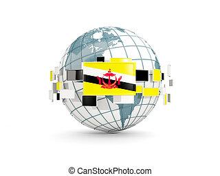 Globe with flag of brunei isolated on white