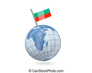 Globe with flag of bulgaria