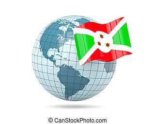 Globe with flag of burundi