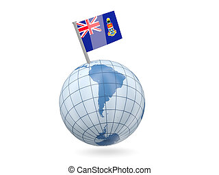 Globe with flag of cayman islands