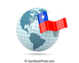 Globe with flag of chile