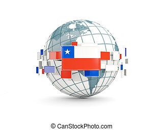 Globe with flag of chile isolated on white