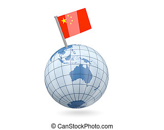 Globe with flag of china
