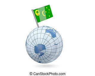 Globe with flag of cocos islands