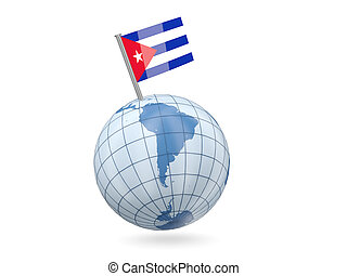 Globe with flag of cuba