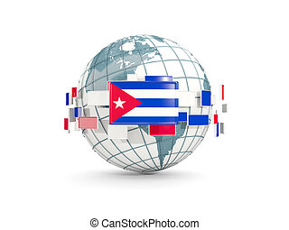 Globe with flag of cuba isolated on white