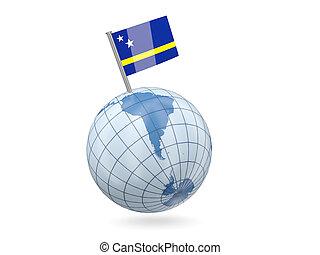 Globe with flag of curacao